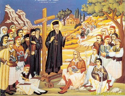 St Kosmas the Aetolian preaching
