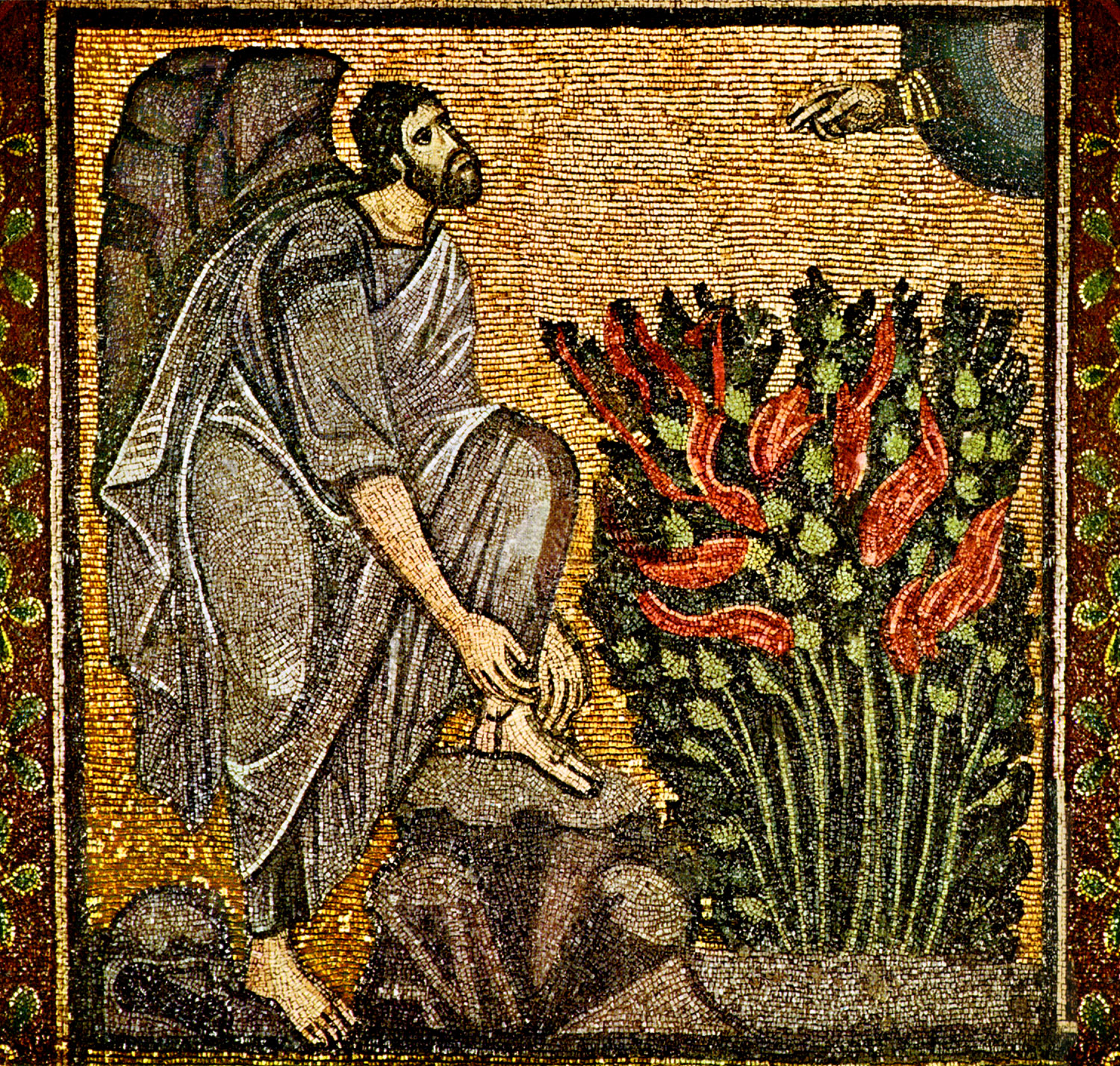 Moses_taking sandals off before Burning_Bush, Sinai mosaic