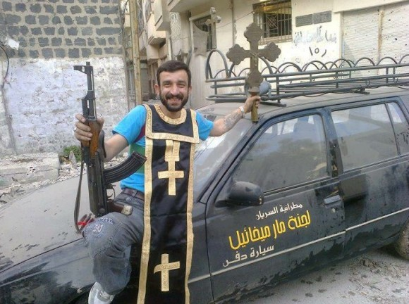 Syrian Mslim rebel wearing Priestly Stole 2012