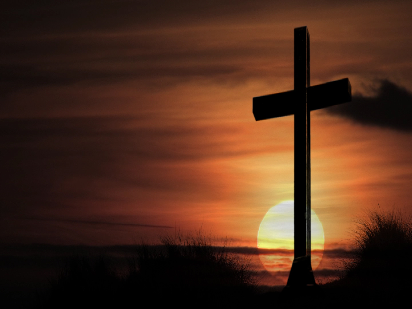 Cross bathing in sunset