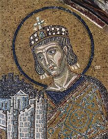 Constantine the Great offering his city to God
