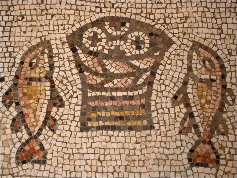 Fish and loaves mosaic