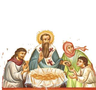 Icon St Basil distributing Vasilopita