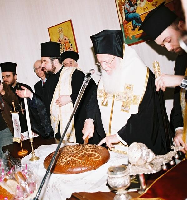 Vasilopita cut by Ecumenical Patriarch Bartholomew