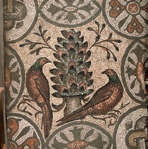 Two Partridges from a 4th Century Mosaic Floor in Crypt of Basilica of Aquileia