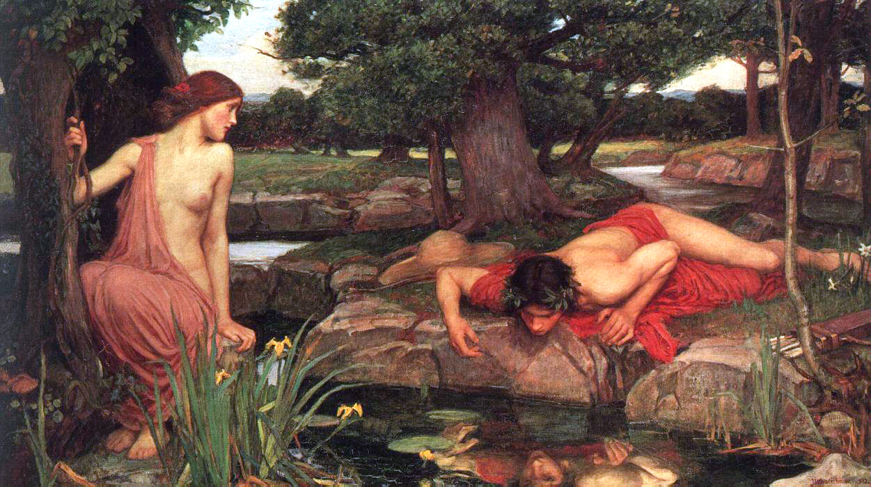 Narcissus falls in love with his reflection