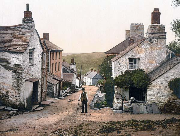 Old photo of Boscastle - A typical Cornwall village