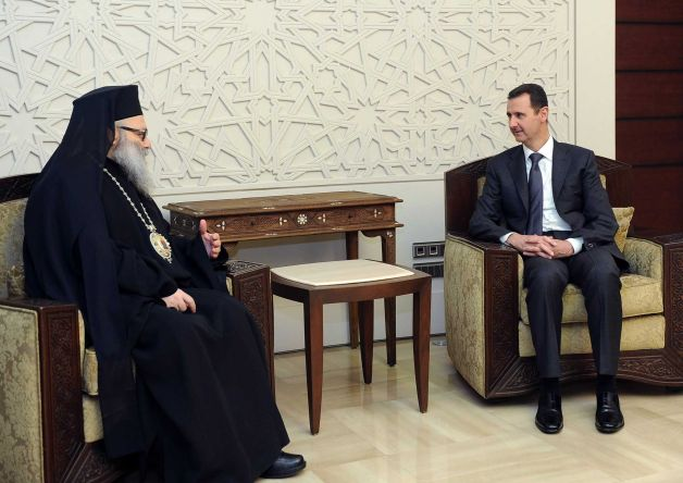 Patriarch John X and President Bashar Al-Assad