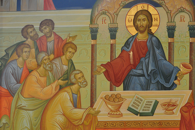 Christ administering Holy Eucharist