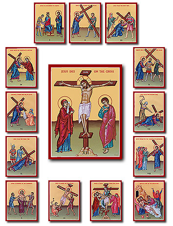 Stations of the Cross in slight Byzantine iconographical style