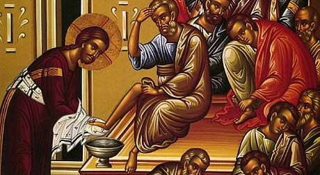 Icon of Christ washing feet of Disciples