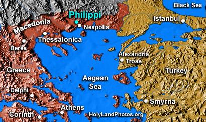 Location of Philippi and Troas