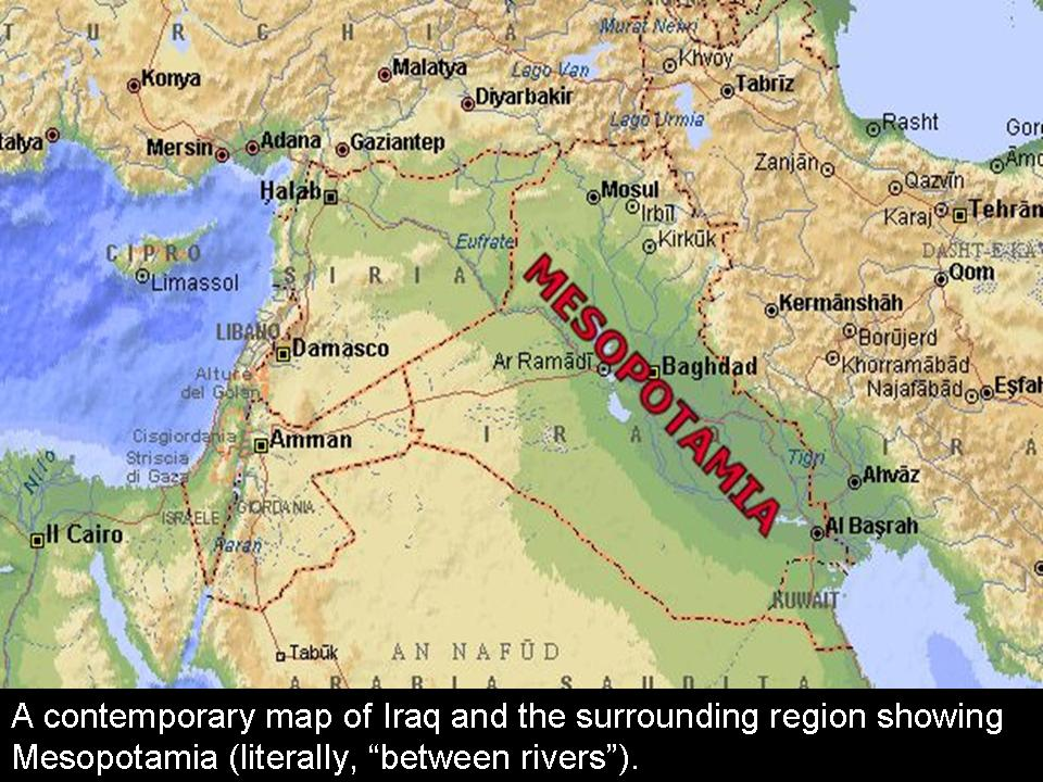 Mesopotamia identified on modern map