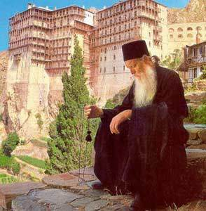 Orthodox monk with prayer rope