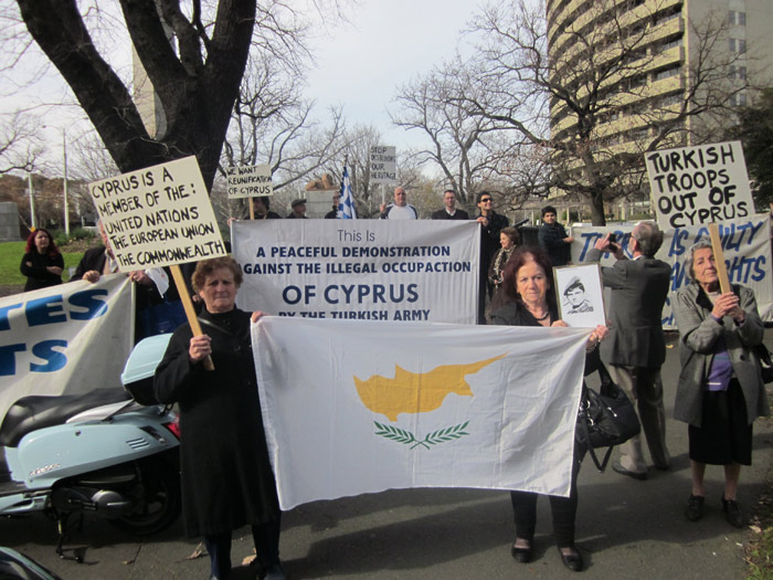 Protesters outside Turkish consulate in Melbourne