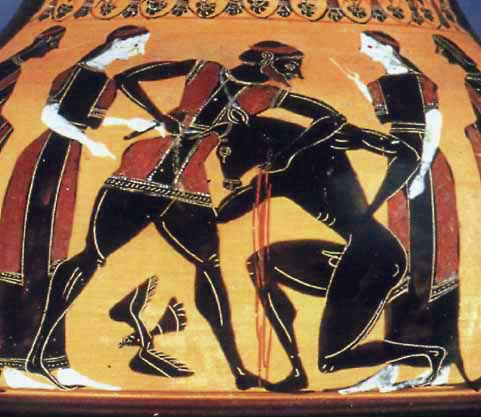 Theseus and the Minotaur vase painting