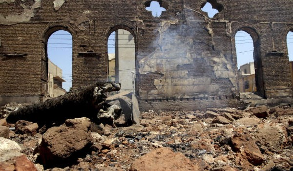 Egyptian church in smouldering ruins