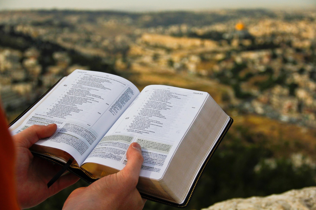 Personal Bible being read in Jerusalem