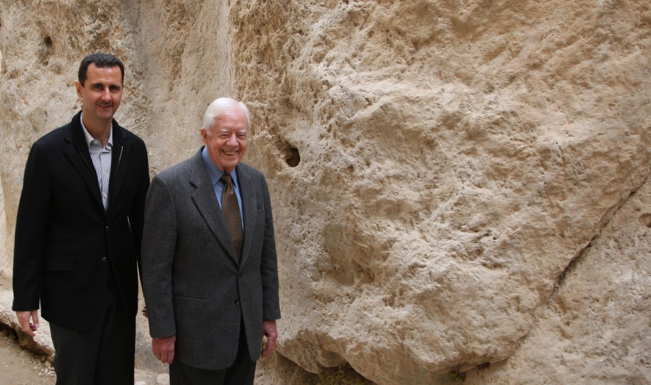 Assad with Carter at mountain pass of St Thecla - Maaloula