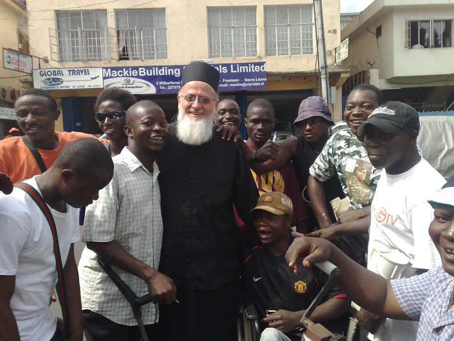 Fr Themi with the young men of Freetown