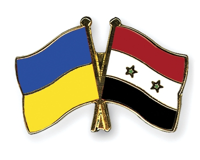 Flags of Ukraine and Syria