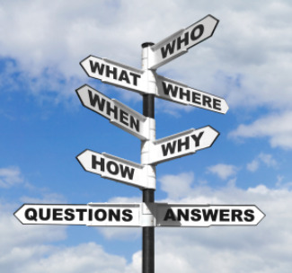 Concept image of the six most common questions and answers on a signpost