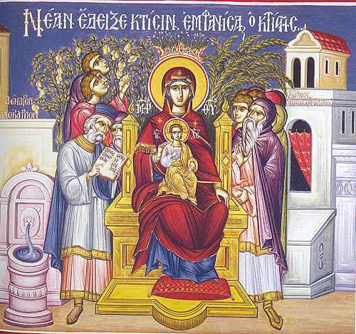 Icon of the enthroned Theotokos - Akathistos Hymn