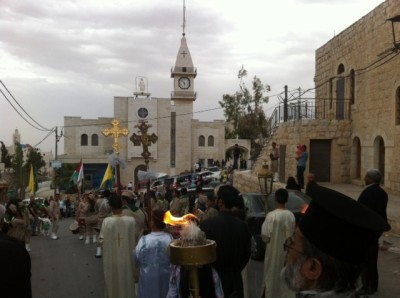 Taybeh, Palestine, St. George Church celebrates the Miracle of the Holy Fire