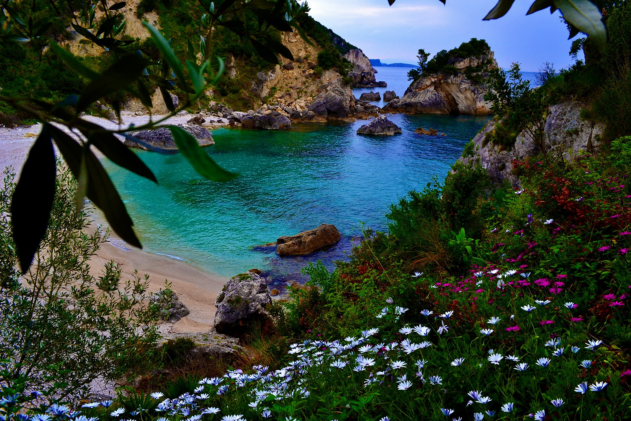 Greek coastal landscape in spring