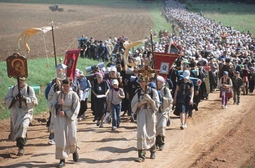 Orthodox Christian pilgrims on procession