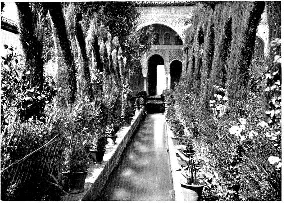 Alhambra courtyard imitates Byzantine garden design