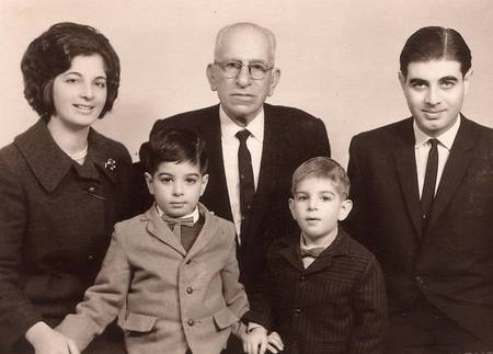 Prof Manuel J Aroney (right) with his wife Ann Aroney (left), their sons Jim (front left) (aged four) and Theodore (aged two) (front right), and Manuel's uncle Peter Aronis (his father's brother) (centre), taken in Athens in early 1966 soon after they first met him.