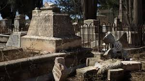 Desecrated Christian cemetery