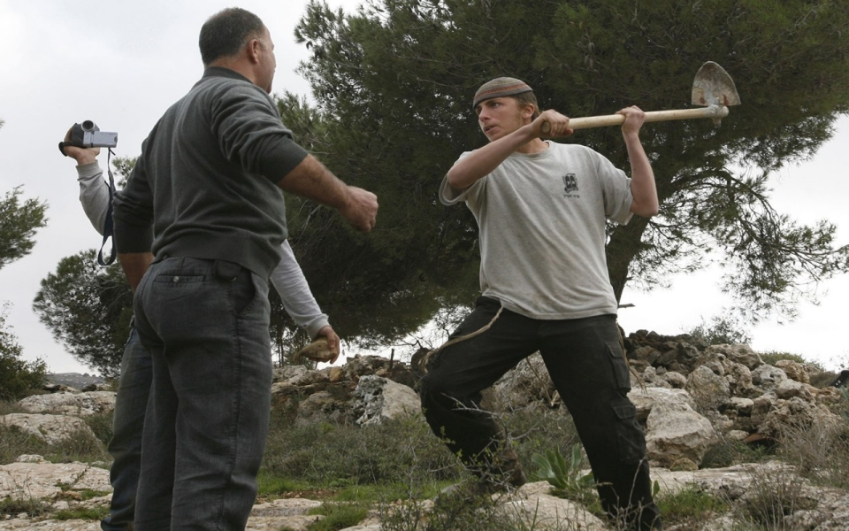 Israeli settler attacks Palestinian farmer defending his olive grove