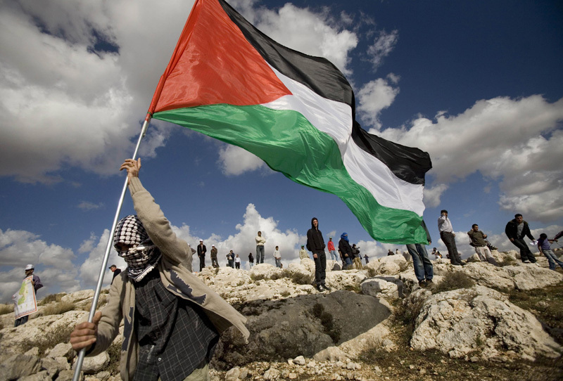 Palestinian flag raised in defiance