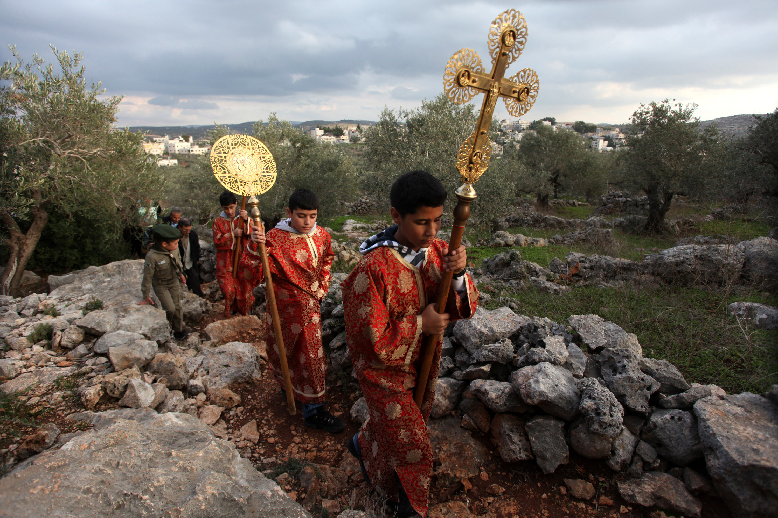 Palestinian Orthodox in procession at Aboud