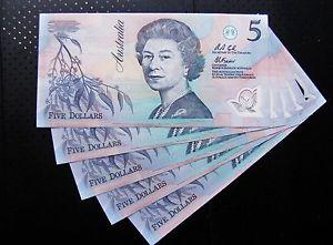 Cache of Australian five dollar notes