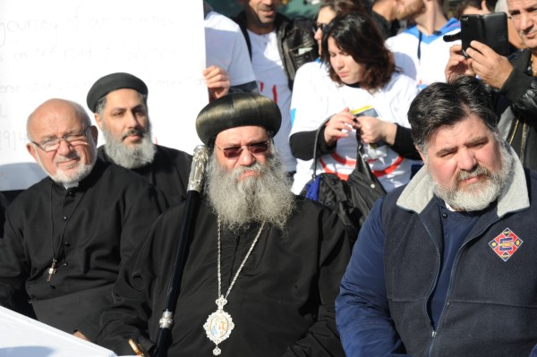 Fr Emmanuel Lykopandis on right next to Bishop Suriel of the Coptic Church in Victoria